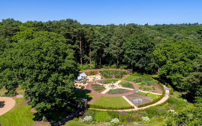 Garden-designers-surrey-walled-vegetable-garden-glasshouse-Petersfield-Hampshire
