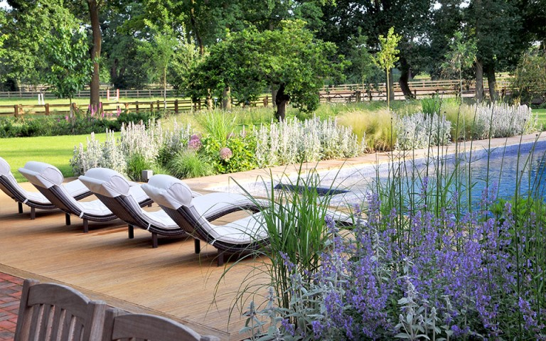 Surrey-garden-designers-swimming-pool-decking-area